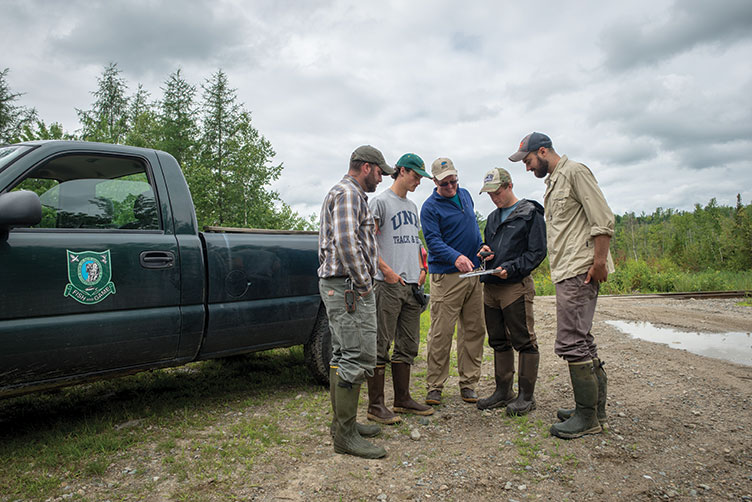 UNH professor Pete Pekins and his team of student researchers