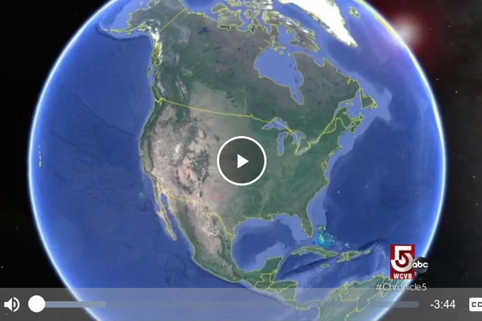 Screen grab of WCVB video about UNH charting world's oceans - shows planet earth