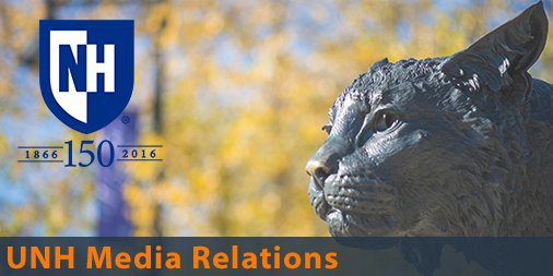 UNH Media Relations title with university logo and image of a wildcat statue.