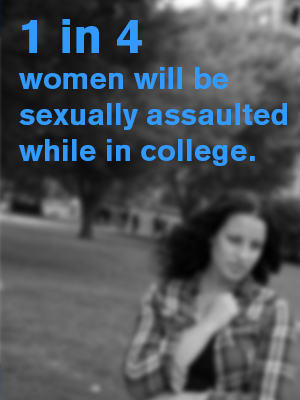 A graphic stating 1 in 4 women will be sexually assaulted while in college