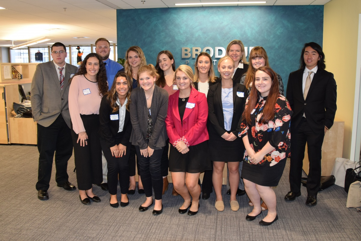 students in attendance at the Brodeur Partners visit with Dean Heidi Bostic.