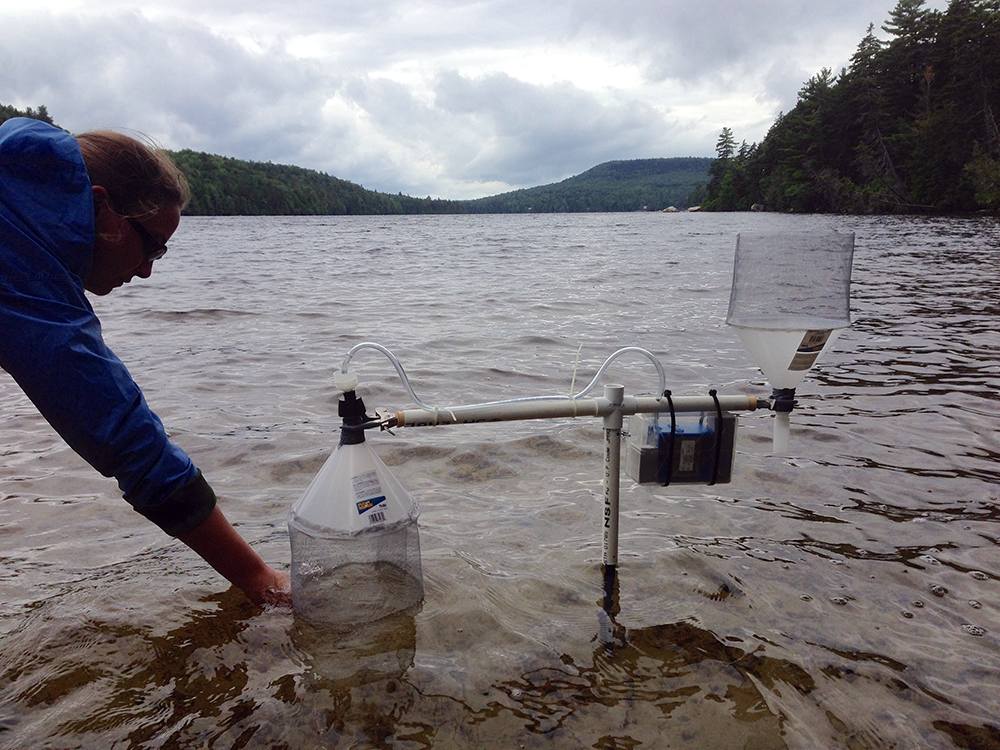 UNH researchers on Lake Christine in Stark, N.H.