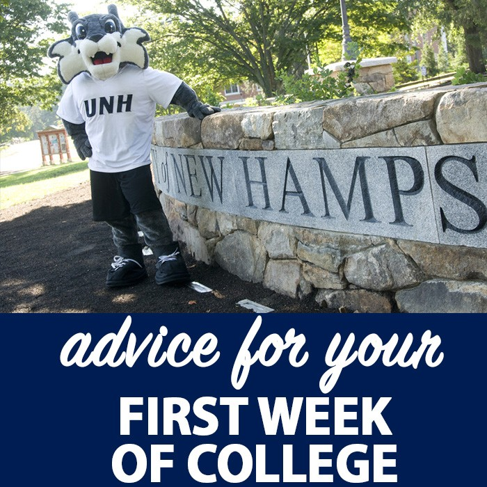 Advice for your first week of college graphic with Wild E. Cat standing by the wall in front of Thompson Hall