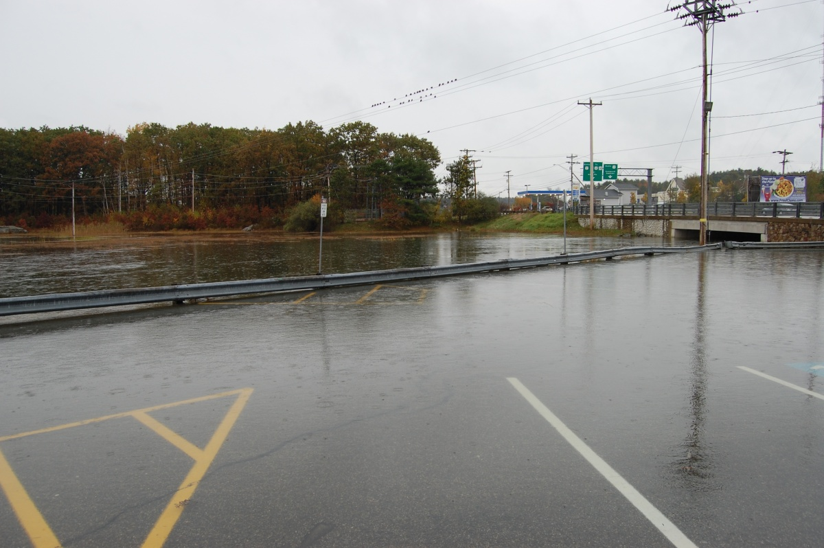 flooded river and roadway