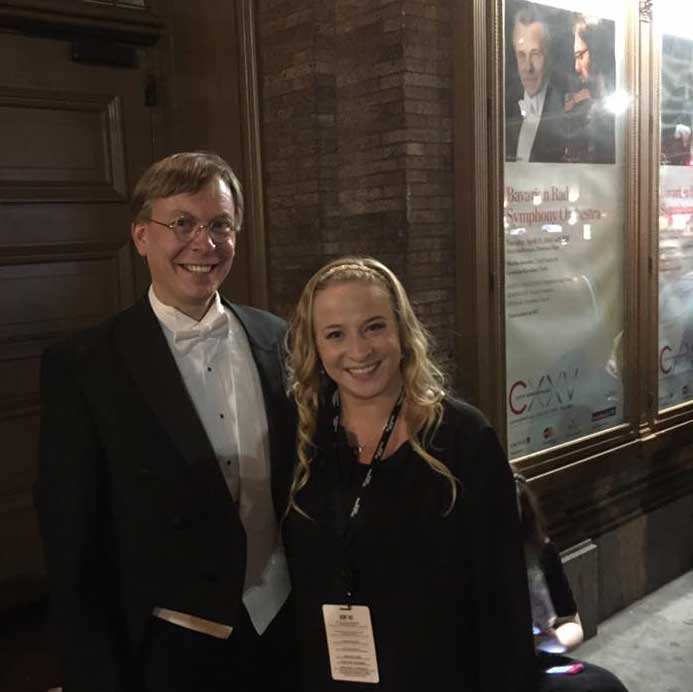 Choral Director Rob Westerberg with UNH student Kathleen Kuhnly
