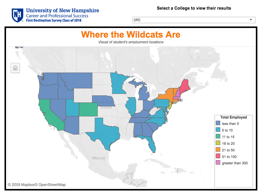 UNH CaPS First Destination Survey Map