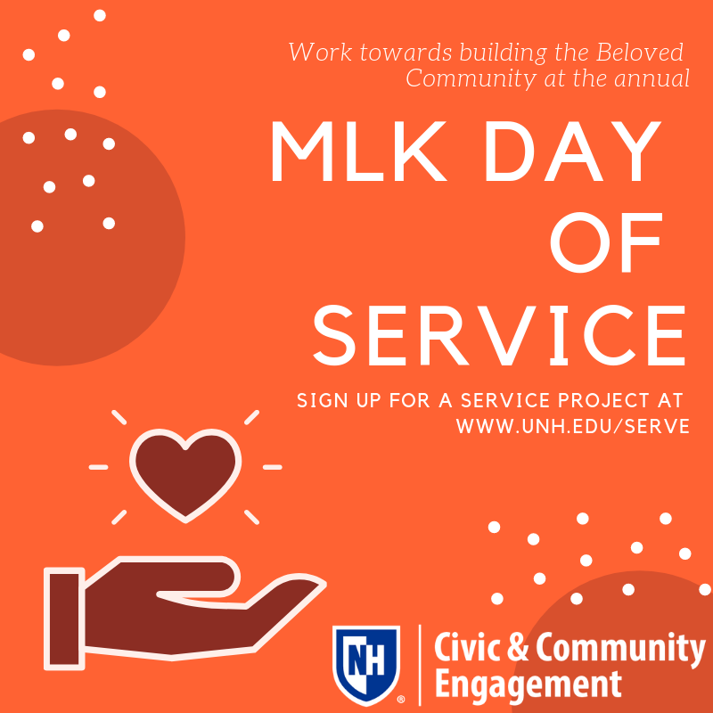 UNH's MLK Day of Service poster