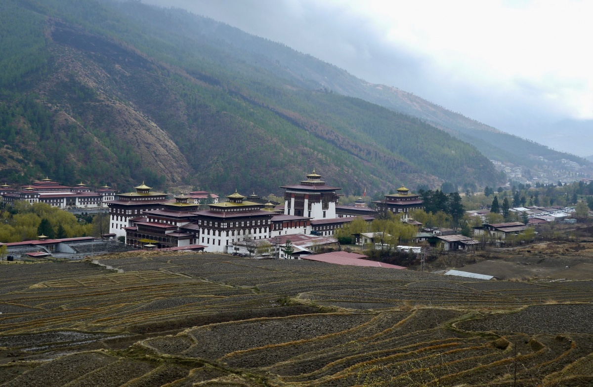 Tashichho Dzong, a Buddhist monastery and the seat of Bhutan's civil government,