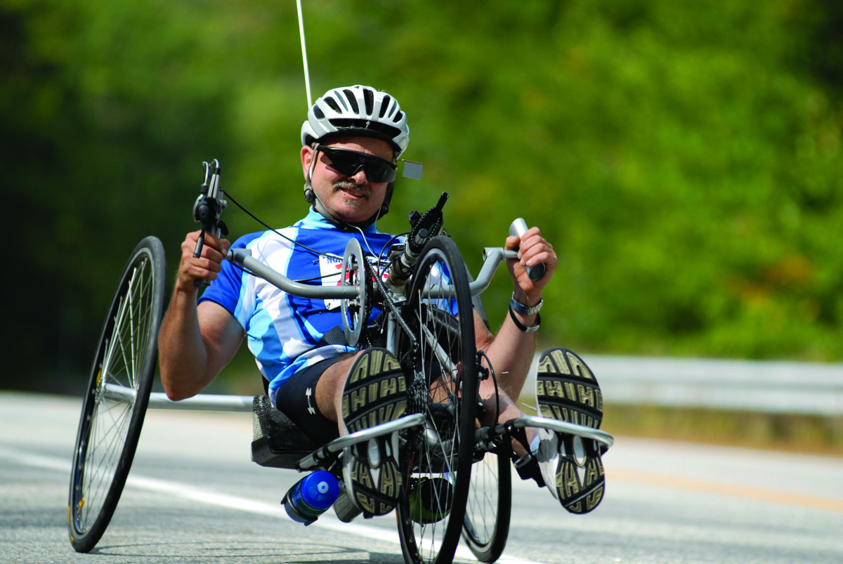 Brent Cote rides a handcycle