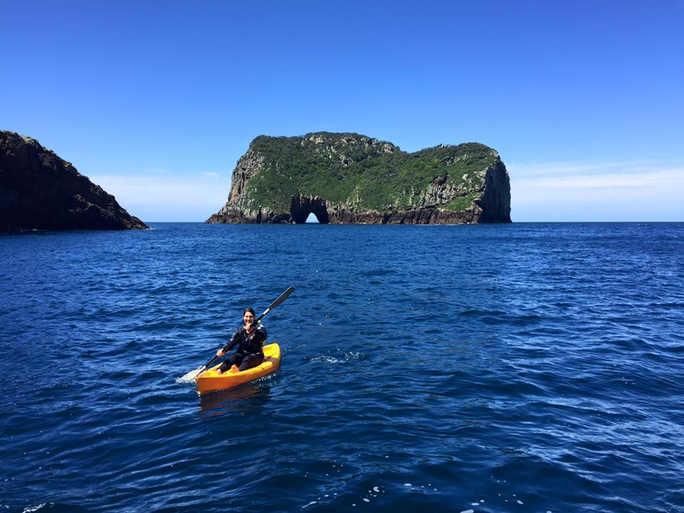 An EcoQuest participant kayaking
