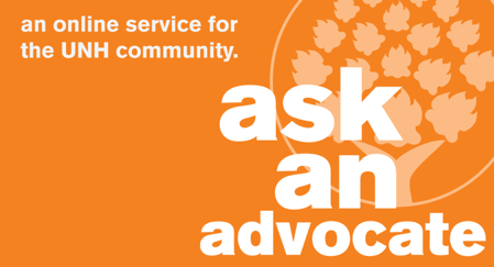 A graphic with the words ask an advocate