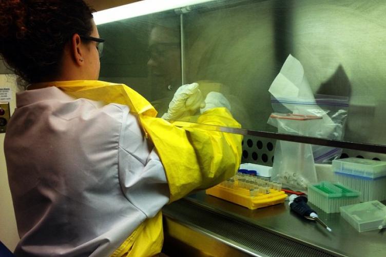 Kim Celona working on extracting DNA