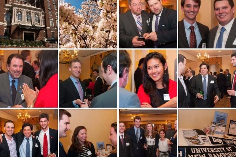 multiple images of alumni cocktail event in washing dc