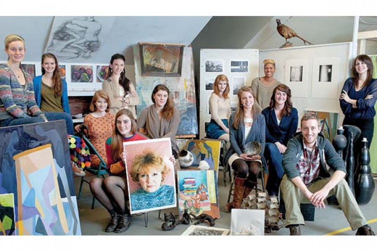 BFA students with artwork