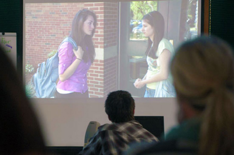 students watching anti-bullying video
