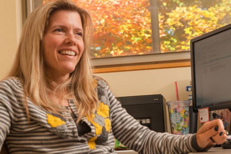 corinna tucker in her office