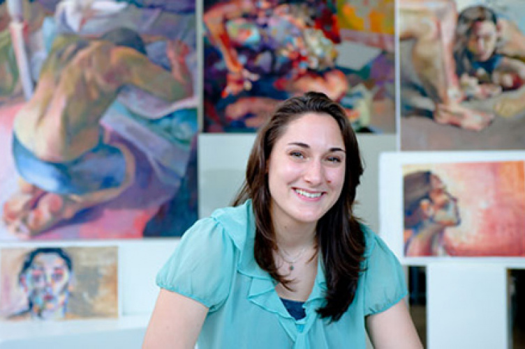 jennifer lamontagne with her artwork