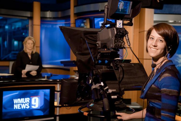 UNH student at TV station