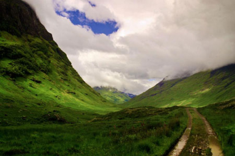 scotland highlands on a partly cloudy day