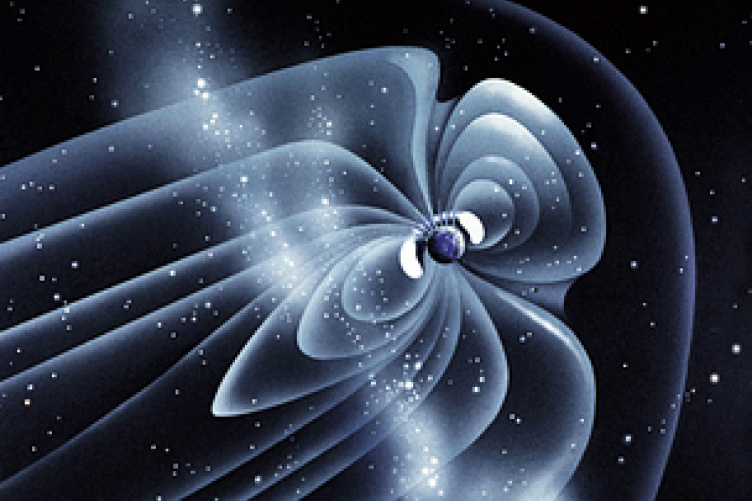 Within the Earth's magnetosphere is a cavity of energetic particles trapped by the Earth's magnetic field—the Van Allen belts.