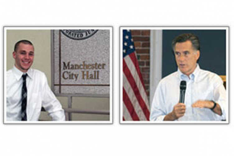 two images - student and Mitt Romney