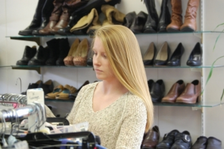 student in thift store