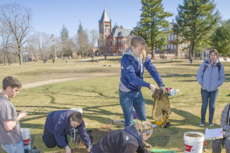 archaeology students at campus train depot dig near morrill hall
