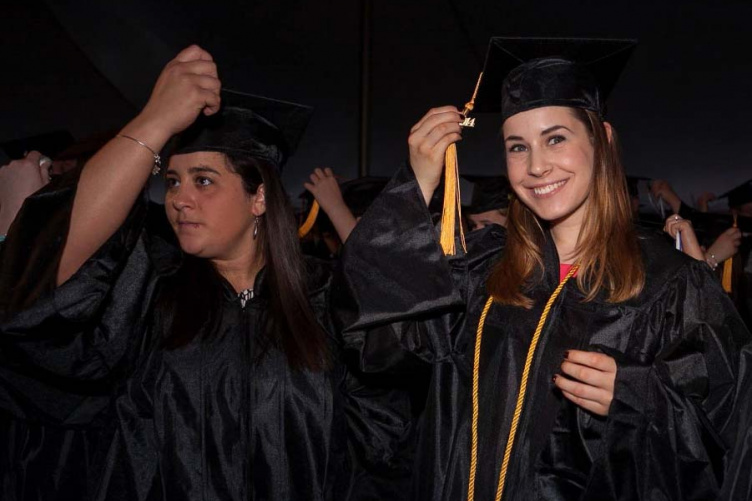 unh manchester students at commencement
