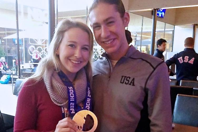 Katie McCarter '10 with Olympian Jason Brown