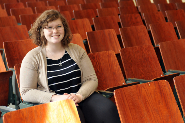 Samantha Granville sits in the Murkland lecture hall.