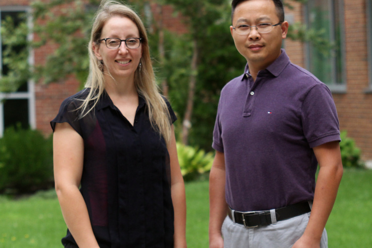 Christine Caputo, an assistant professor in chemistry and Gonghu Li, an associate professor in chemistry and materials science