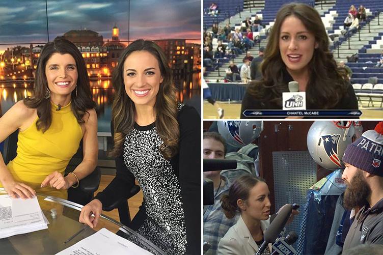 Photos of UNH alumna Chantel McCabe at work as a news anchor and reporter