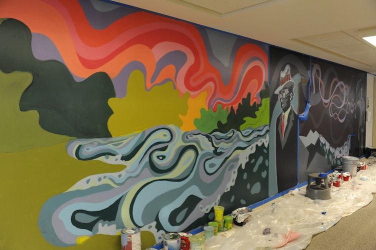 mural in progress at Dimond Library