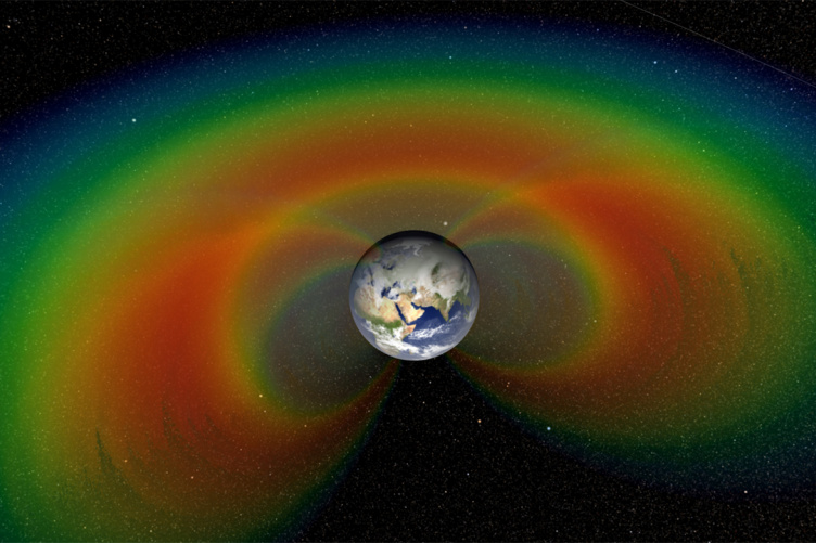 Colorful image of Van Allen radiation belts around Earth