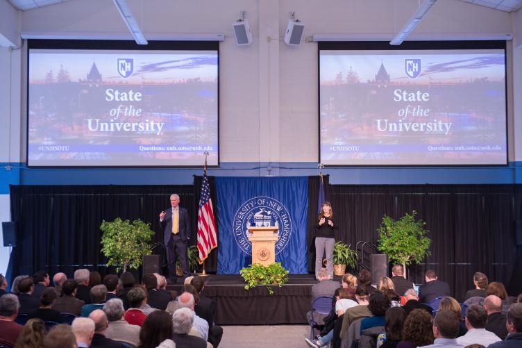 UNH President Mark Huddleston delivering the State of the University address