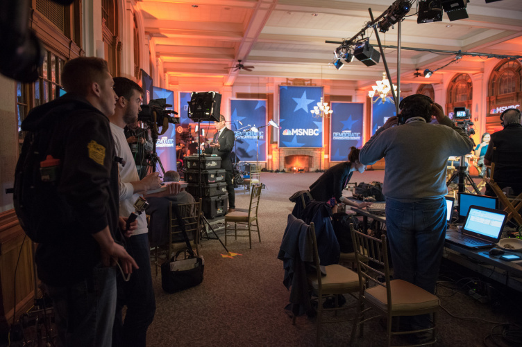 UNH students in spin room during presidential candidates debate
