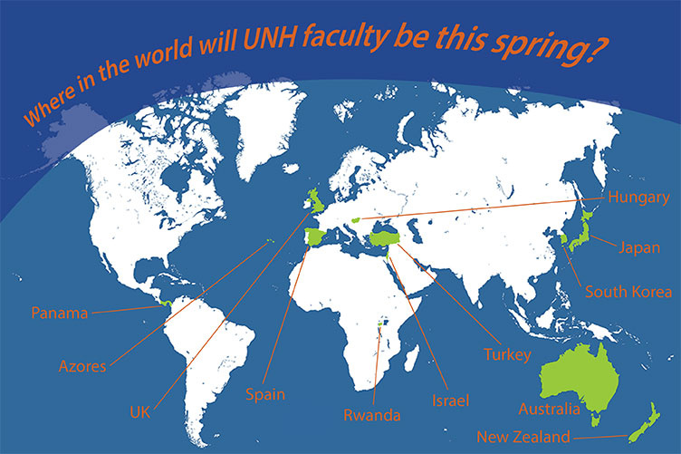 A map of the world showing locations where UNH faculty will be teaching or taking part in projects this spring.