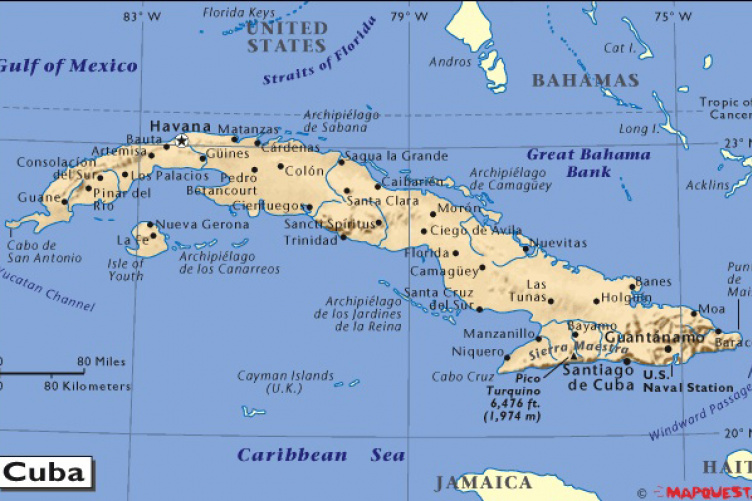 Those Famous Miles UNH Today - Cuba on map