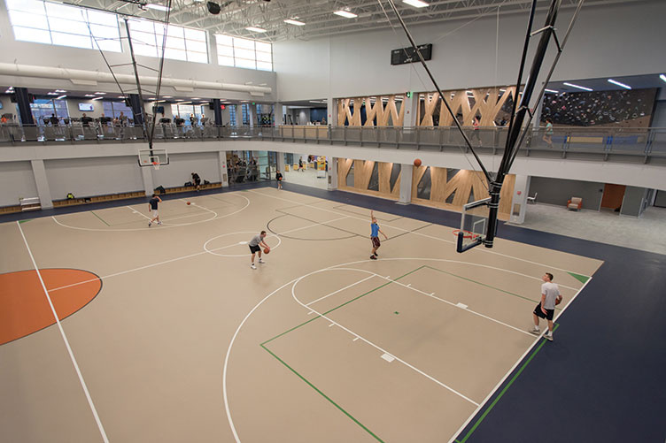 the basketball court at the new expanded Hamel Rec Center at UNH