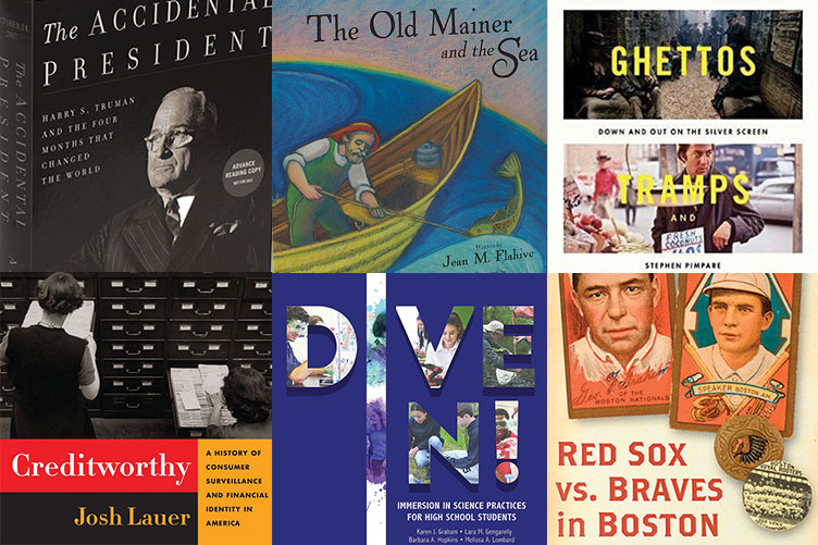 collage of books written by UNH alumni and professors