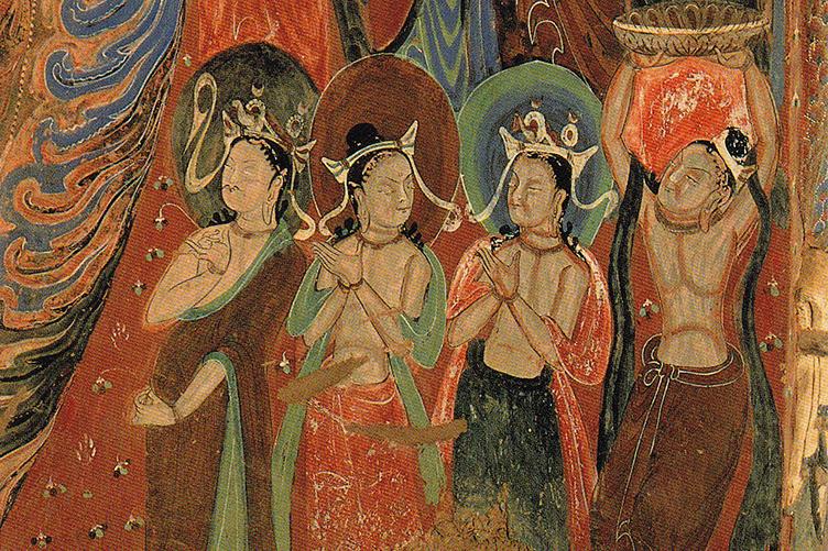 four men worshipping Bodhisattva