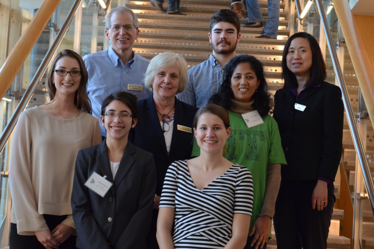 The winning student team poses with Dean Deborah Merrill-Sands, Department of Decision Sciences chair Roger Grinde, and faculty member Jing Wang.