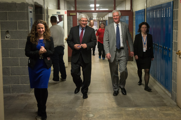 NH Senate President Chuck Morse and UNH President Mark Huddleston met with students and staff at Salem High School on March 27.