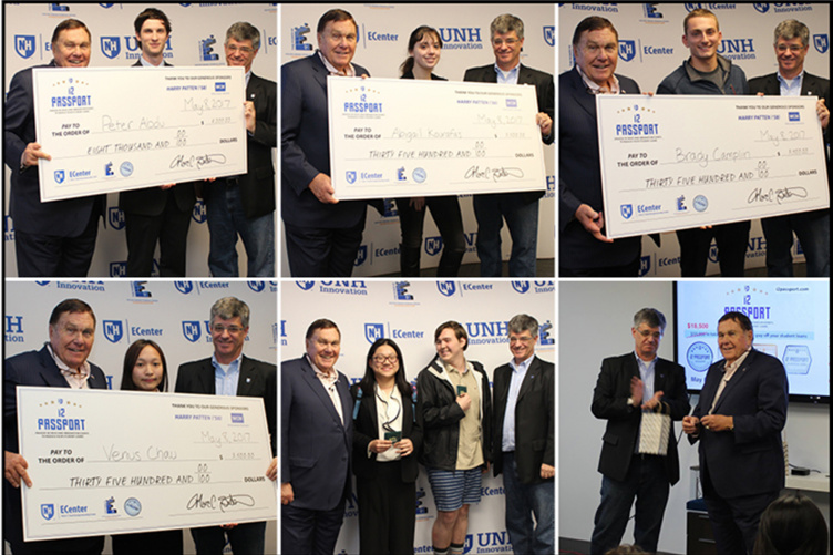 six images of student winners with large checks