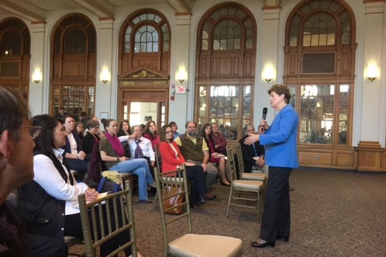 Senator Jeanne Shaheen addresses UNH faculty researchers in Huddleston Hall