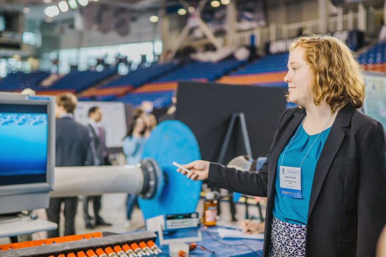 UNH student at Undergraduate Research Conference science and engineering symposium