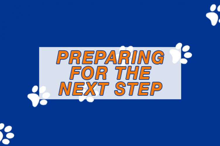 """A graphic with the words """"Preparing for the next step."""""""