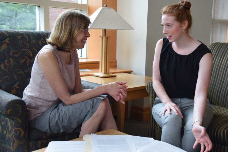 UNH professor Jeannie Sowers with student Rory O'Neil '20