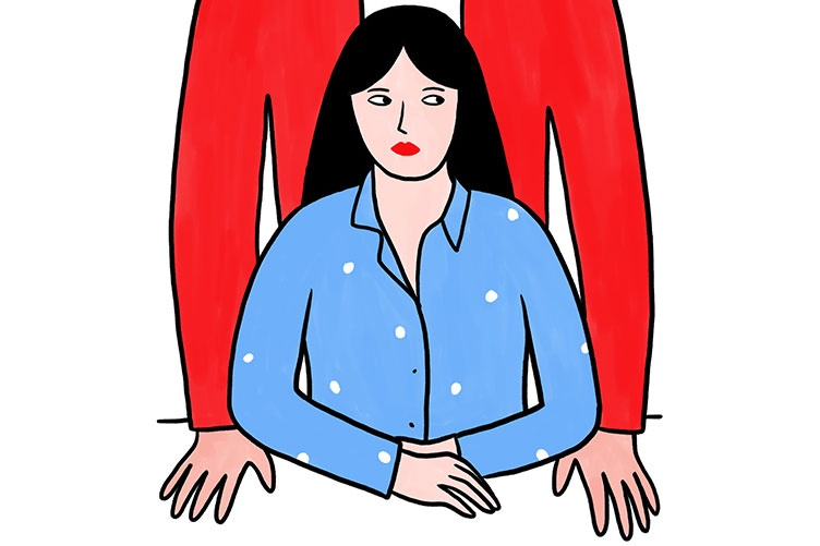 illustration of a man standing over a woman