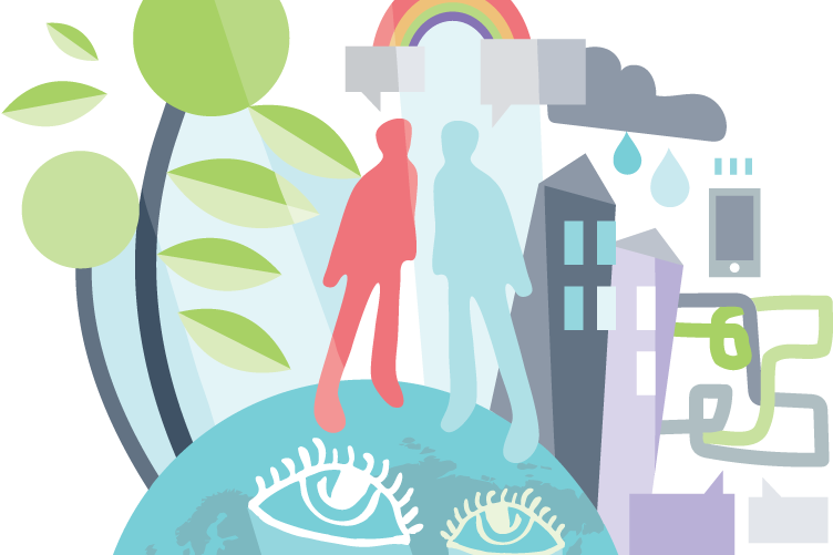 illustration of trees, people, a rainbow, buildings, rain, clouds, and technology on top of a globe with eyes